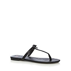 Faith - Black bow detail toe post sandals