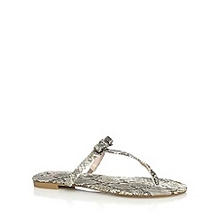 Faith - Natural snakeskin bow detail toe post sandals