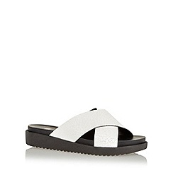Faith - White wide strap low wedge sandals