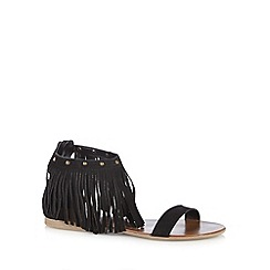 Faith - Black suede fringed sandals