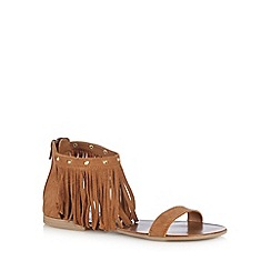 Faith - Tan suede fringed sandals