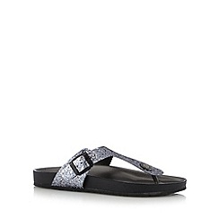 Faith - Dark grey glitter toe post flip flops