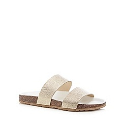 Faith - Light gold leather textured strap flip flops