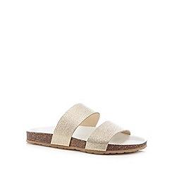 Faith - Light gold leather textured strap flip flops