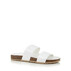 Faith - White plain strap flip flops