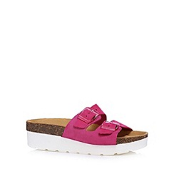 Faith - Dark pink suede strap platform sandals