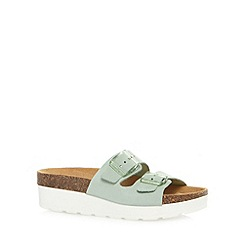 Faith - Pale green suede strap platform sandals