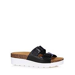 Faith - Black leather strap platform sandals