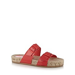 Faith - Coral patent straw sandals