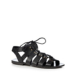 Faith - Black leather lace up flat sandals