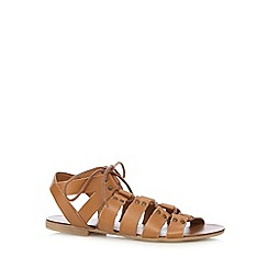 Faith - Tan leather lace up flat sandals