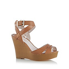 Faith - Tan leather high wedge sandals