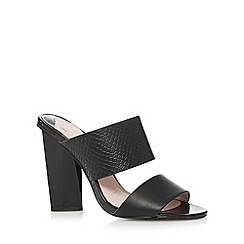 Faith - Black leather snakeskin strap high mule sandals