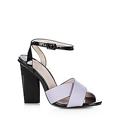 Faith - Lilac leather block heel high sandals