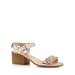Faith - Gold metallic jewel embellished mid sandals