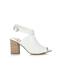 Faith - White leather peep toe high sandals
