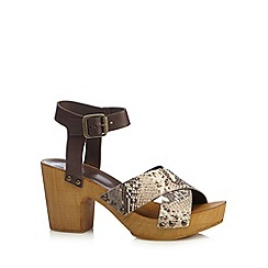 Faith - Brown leather snakeskin mid sandals