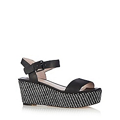 Faith - Black woven wedge mid sandals