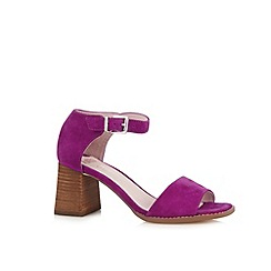 Faith - Dark pink suede flared block heel sandals