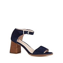 Faith - Navy suede flared block heel sandals