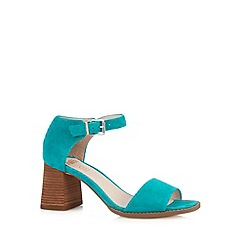 Faith - Bright turquoise suede flared block heel sandals