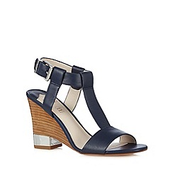 Faith - Navy leather wooden wedge heel high sandals
