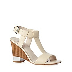 Faith - Off white leather wooden wedge heel high sandals