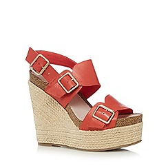 Faith - Red leather buckled high wedge sandals