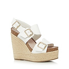 Faith - White leather buckled high wedge sandals