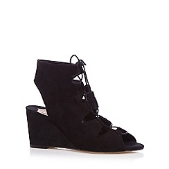 Faith - Black suede lace up mid sandals