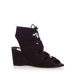 Faith - Black suede lace up mid sandals