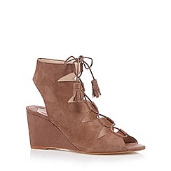 Faith - Taupe suede lace up mid sandals