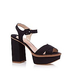 Faith - Black cross high platform sandals
