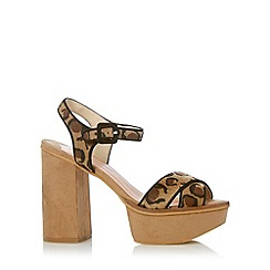 Faith - Tan leopard cross high platform sandals