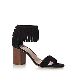 Faith - Black suede fringe cuff mid sandals