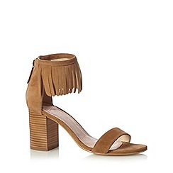 Faith - Tan suede fringe cuff mid sandals
