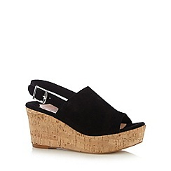Faith - Black suede cork mid sandals
