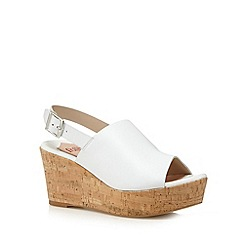 Faith - White peep toe mid wedges