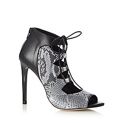 Faith - Grey leather snakeskin lace up high sandals