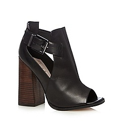 Faith - Black leather buckled side high shoe boots