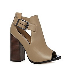 Faith - Taupe leather buckled side high shoe boots