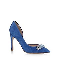 Faith - Blue leather stone stiletto court shoes