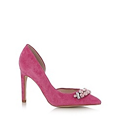 Faith - Bright pink leather stone stiletto court shoes