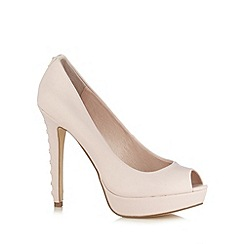 Faith - Pale pink high diamante heel platform court shoes