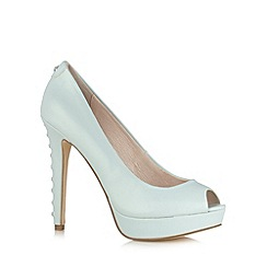 Faith - Pale blue high diamante heel platform court shoes