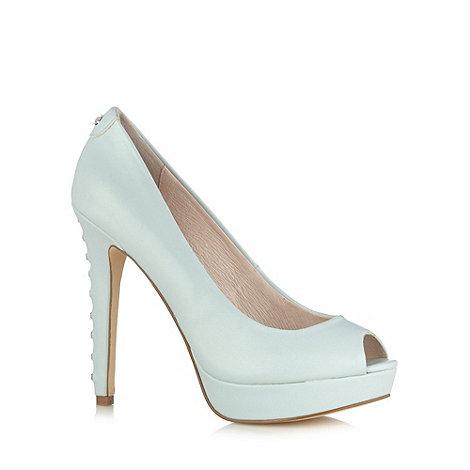 Faith - Pale blue high diamante heel platform court shoes