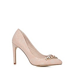 Faith - Pale pink snake jewel high court shoes