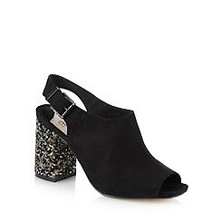 Faith - Black open toe embellished block heel court shoes