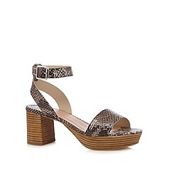 Faith - Natural faux snakeskin mid sandals