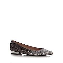 Faith - Silver sequin low heel pointed toe court shoes